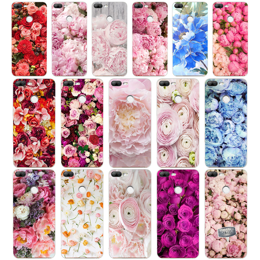 225A Drawn Peony Delicate Flower Soft Silicone Tpu Cover phone Case for huawei Honor 9 Lite 10 p 9 10 lite case(China)