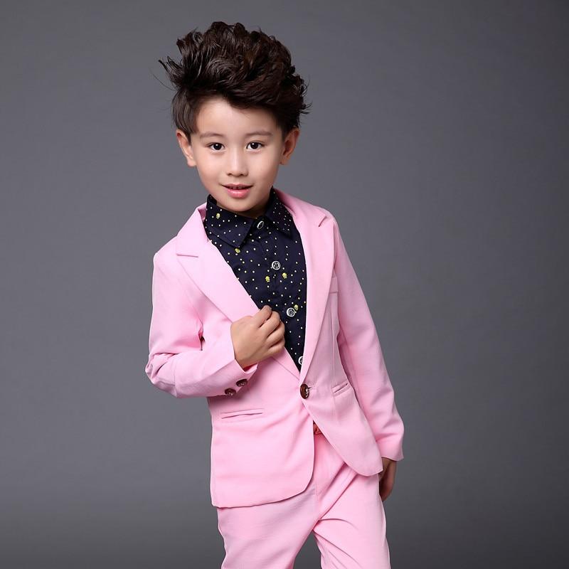Costume costume suit boy suit  summer thin section pink two-piece  suit Korean children<br>