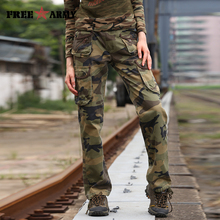 Free Army Brand Women's Camouflage Pants Pockets Cotton Casual Loose Full Length Cargo Women Pants Winter Outer Wear GK-918