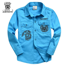 XIAOYOUYU Cartoon Decoration Boys Fashion Shirts Size 120-160 cm New Arrival Pocket Design Children Casual Clothings