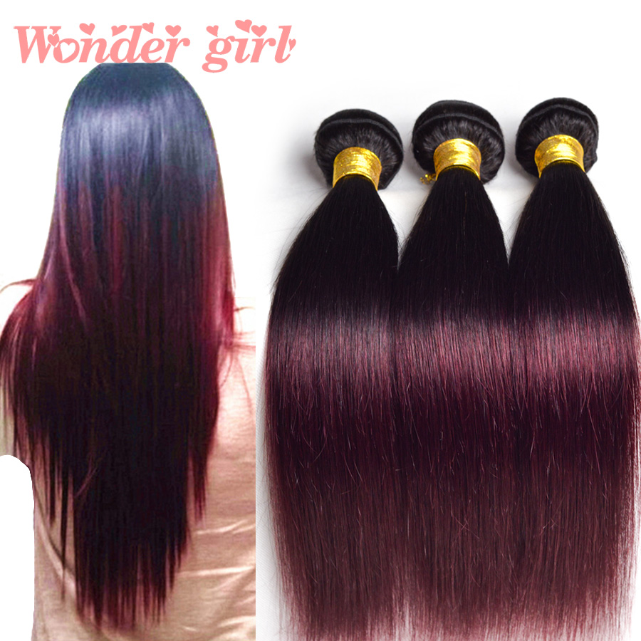 Ombre Straight Hair Peruvian Virgin Hair Straight 3 Bundles Ombre Peruvian Hair T1B/33 T1B/99j Burgundy Ombre Human Hair Bundles<br><br>Aliexpress
