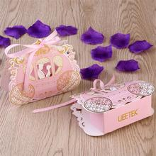 50pcs Carriage Candy Boxes Sweets Packaging Favours Baby Shower Gift Bag DIY Creative Candy Box Romantic Mariage