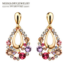 Neoglory Austria Rhinestone Long Earrings Water Drop Shaped Multicolor Design Rose Gold Color Exquisite Gift Trendy Lady Sale(China)