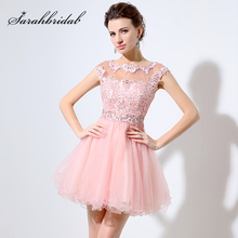 Pink Lace Beaded Short Party Dresses Evening Wear 2017 Real Image Custom Made Cap Sleeve Knee-length Homecoming Dresses LX011
