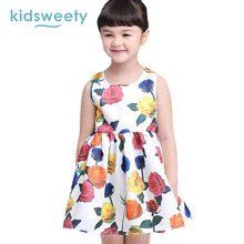 Kidsweety Girls Dresses Summer Cotton White Floral Kid Pleated Print Sundress Child Casual Pullover A-Line Sleeveless Girl Dress(China)
