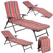 Red White Stripe Folding Lounger Patio Outdoor Chaise Cushions Pool Side Recline HW51794(China)