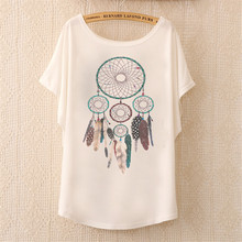 2017 Fashion Women Tops Tees Cute Dream Catcher Printing Cotton T-shirt Women's Short Batwing Sleeve Tshirt on Sale(China)