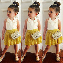 baby 2pcs clothing set!! summer kids girls 2-7T white sleeveless tops+yellow lace skirt dropshipping wholesale