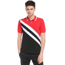 Outer mold real trade new men Europe and the United States wind oblique stripes stitching short sleeve large size T - shirt