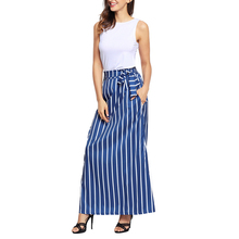 Hot Sale Women Bohemian Casual Vintage High Waist Full Length Skirts Striped Printed Maxi Skirts With Pockets(China)