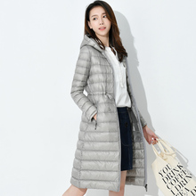 Woman Long Weightless Jacket Female Hooded Ultra Light Padded Jackets Winter Down  Coat Casual Parkas Solid