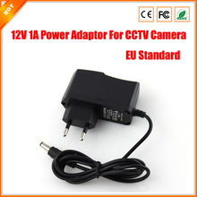 10pcs per lot AC 100-240V DC 12V 1A EU Plug AC/DC Power adapter charger Power Adapter for CCTV Camera (2.1mm * 5.5mm)