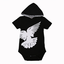 Summer Newborn Infant Baby Boy Romper Short Sleeve Black Onesie Baby Children Clothes Outfit