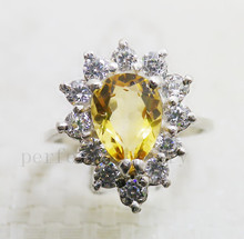 Citrine ring Free shipping Real and natural citrine 925 silver rings Fashion jewelry Wholesales Women ring Fine gem 1.5ct gem