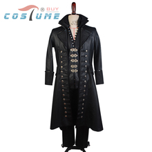 Once Upon A Time Captain Hook Black Leather Cape Jacket Coat  Pants Halloween Cosplay Costume For Men Custom Made