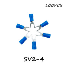 SV2-4 100PCS/Pack Blue Insulated Spade Terminal Block Connector Electrical Furcate Pre-insulated End Fork Crimp Cable Wire