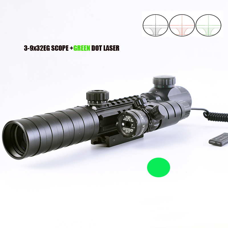 Tactical 3-9X32EG Riflescope w/ Long Range Red Dot Laser/ Red/Green Dot Holographic Reflex Sight  Combo for Rifle /Airsoft<br>