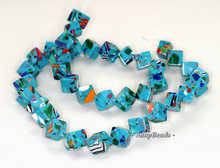 12mm Matrix Turquoise Gemstone Blue Diamond Square Cube 12mm Loose Beads 15.5 Inch Full Strand (90145281-212)