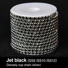 Jet black Rhinestone chains SS8/SS10/SS12 silver base Densely cup chain 10yards/roll for Garment Free shipping