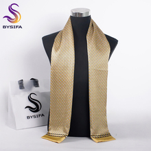 [BYSIFA] Men Yellow Silk Scarves Winter Fashion Accessories 100% Natural Silk Male Plaid Long Scarves Cravat 160*26cm(China)
