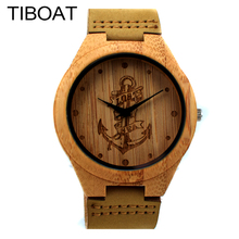 TIBOAT Lost sea Anchors Design Bamboo Watches Japan Quartz Wooden Wristwatches Genuine Leather Men Women Luxulry Watches(China)