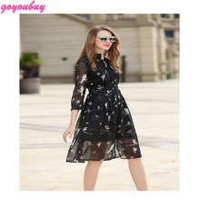 go you buy Europe stand of 2017 printed chiffon v-neck dress long printing the a-line DRESS 9366