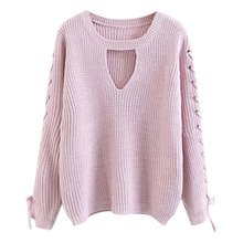 ZAFUL Winter Warm Women Lace Up Solid Casual Knitted Sweater O Neck Hollow Out Bandage Choker Sweater Pullover Fall Jumper Tops(China)
