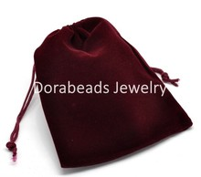 "DoreenBeads Dark Red Velveteen Pouch Jewelry Bags With Drawstring 12x10cm(4-3/4""x3-7/8""), 10PCs (B15847), yiwu(China)"