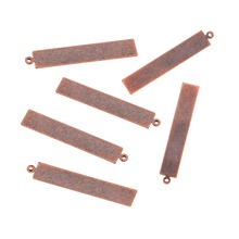 Pandahall 10pcs Rectangle Metal Tags Brass Blank Stamping Tag Pendants Red Copper41x7x0.3mm, Hole: 1mm
