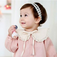 Toddler Girl Kids Fake False Collar Baby Cute Sweet Lace Cotton Detachable Tie Ribbon Choker Pink Beige(China)