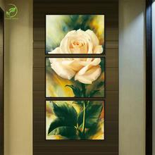 Modern 3pcs Rose Flower Paint Melamine Sponge Board Canvas Oil Painting Rose Pictures Framed Prints Flower Living Room Wall Art