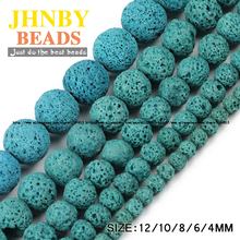 JHNBY Lake blue Lava beads Natural Stone Volcanic rock Top quality 4/6/8/10/12MM Round Loose ball beads for jewelry making DIY