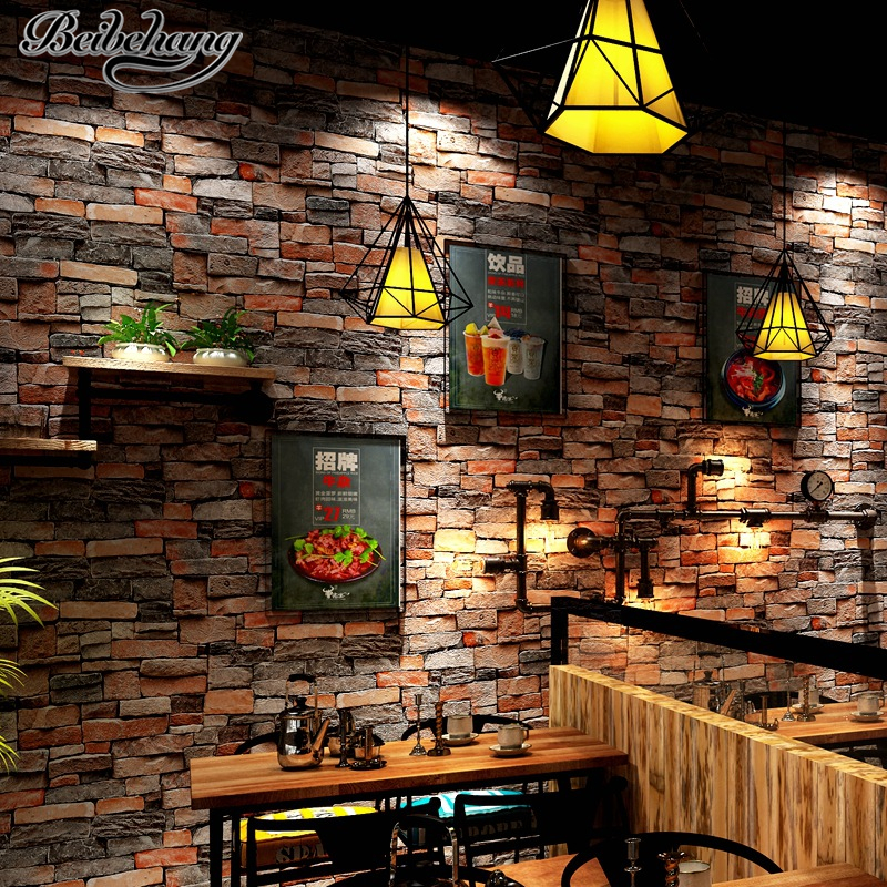 beibehang Stereo retro stone pattern wallpaper cafe hotel background wall simulation stone restaurant culture stone wallpaper<br>