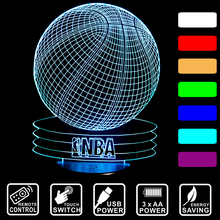 NBA basketball remote control or touch switch 3D LED night light 7 color changing Decor LED Table Lamp young boy's gift IY803642