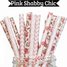 100pcs Mix Colors Pink Shabby Chic Party Paper Straws,Light Pink Polka Dot,Chevron,Damask,Flower,Floral,Wedding,Baby Shower,Bulk(China)