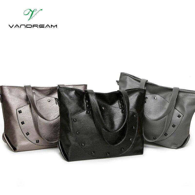 2017 New Arrival Big Size Women Shoulder Bag High Pu Leather Daily Vintage Women Messenger Bag Causal Tote Crossbody Black Rivet<br><br>Aliexpress