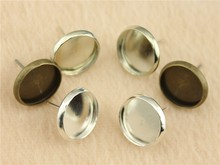 WYSIWYG 10pcs 8/10/12/14mm Round Gold, Silver, Bronze, Rhodium Color Copper Material Earring Studs, Earrings Base/Blank Bezels