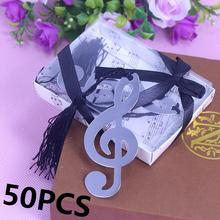 50pcs/set Silver Music Note Bookmark wedding Favour Birthday Gifts Baby Shower Christening Birthday Favour For Guests souvenir(China)