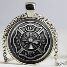 Firefighter Symbol Glass Dome Fashion Pendant Necklace DIY Handmade Fire Dept Jewelry Vintage Charm Trendy Men Women Gift