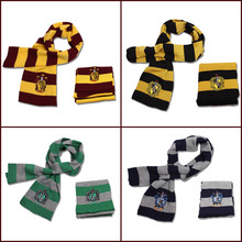 Child Boy Girl Scarves Potter Harry Series Cotton Embroidered Striped Scarves Cute Wraps Badge Personality Cosplay Knit Scarves