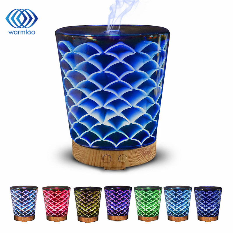 Ultra-quiet Portable Ultrasonic Air Humidifier 3D Glass Night Lights 100ML 12W 100-240V US Plug Aromatherapy Diffuser<br>