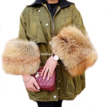 Real Red Fox Fur Sleeves Coat Army Garment Warm Cotton linner Women Fur Coats for Winter