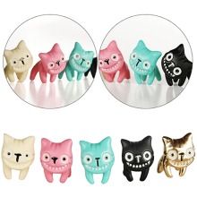 Hot Women's Cute 3D Laugh Cat Kitten Ear Stud Eardrop Earrings Jewelry Gift 1Pc 6Y47 7FY5 BD2T(China)
