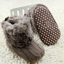 2017 Winter Warm First Walkers Baby Ankle Snow Boots Infant Crochet Knit Fleece Baby Shoes For Boys Girls(China)