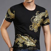 T-Shirt Mens Short-Sleeve 3d Dragon Print for Slim-Asia Size-4xl Totem Casual-Wear Bronzing