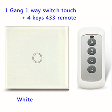 Remote Control Touch Switches Panel Light Wall waterproof crystal glass 1 Gang 1 Way 433MHz+ Pilot.EU/UK standard With Pilot(China)