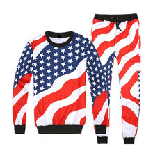 2017 Novelty Harajuku 3d american flag suit Stars and Stripes print pants and sweatshirt 2 piece set men/women sweatpants R2391