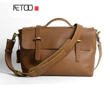 AETOO  Classic design leather mad horse cowhide Oxford bag retro Cambridge package men and women retro  bag