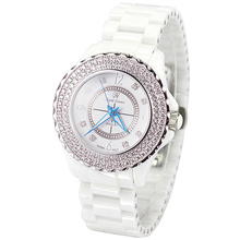 Ceramic Men's Watch Women's Watch Japan Quartz Hour Fine Fashion Clock Bracelet Luxury Rhinestones Girl's Gift Royal Crown Box