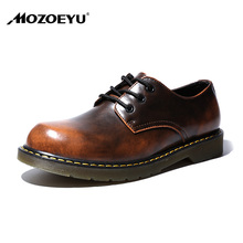 MOZOEYU Men Oxford Shoes Casual Shoes Male Work Safety Leather Shoes Breathable Flats Shoes Lace-up Footwear Round Toe Wide(China)